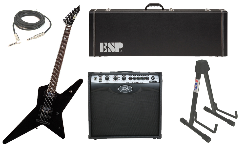 "ESP Signature Gus G. Alder Body 6 String Rosewood Fingerboard Black Electric Guitar with Peavey VIP 2 Modeling Amp, 1/4"" Cable & Stand"