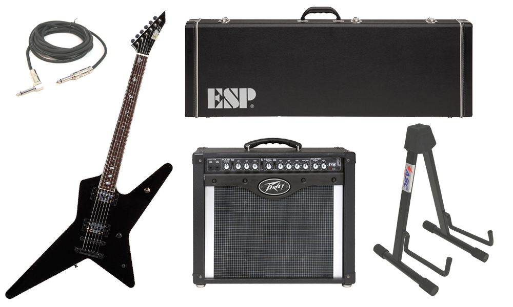 """ESP Signature Gus G. Alder Body 6 String Rosewood Fingerboard Black Electric Guitar with Peavey Envoy 110 Tube Amp, 1/4"""" Cable & Stand"""