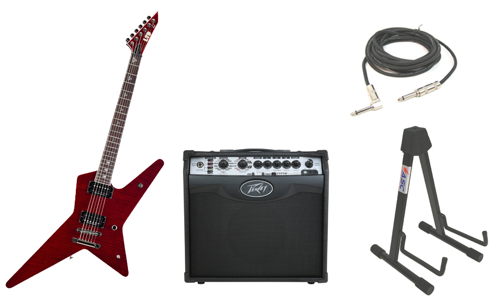"ESP Signature Gus G. 600NT Flamed Maple Top 6 String Rosewood Fingerboard See Through Black Cherry Electric Guitar with Peavey VIP 1 Modeling Amp, 1/4"" Cable & Stand"