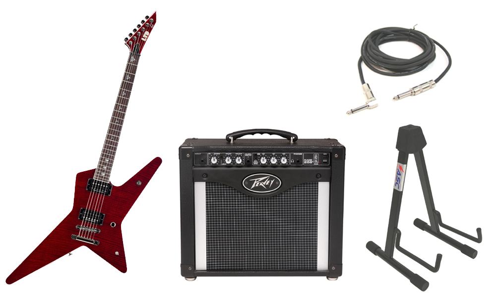 "ESP Signature Gus G. 600NT Flamed Maple Top 6 String Rosewood Fingerboard See Through Black Cherry Electric Guitar with Peavey Rage 258 TransTube Amp, 1/4"" Cable & Stand"