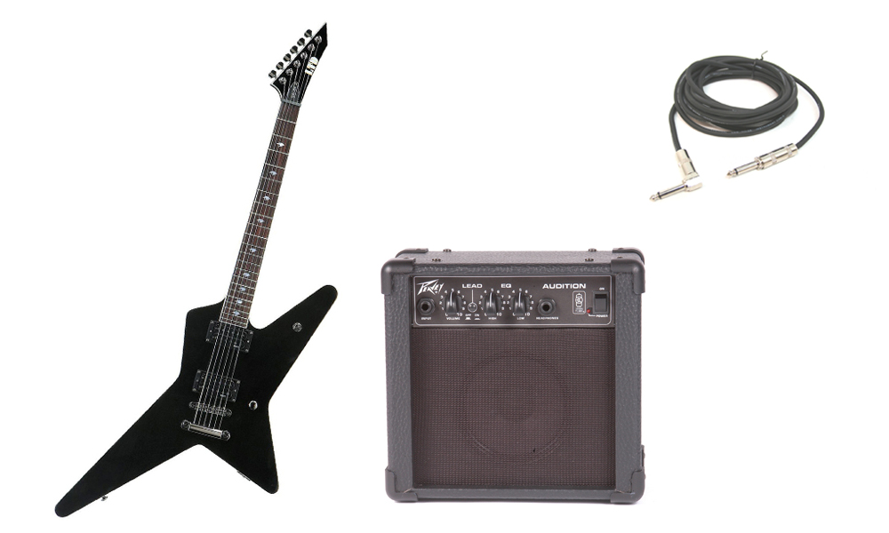 """ESP Signature Gus G. 200 Basswood Body 6 String Rosewood Fingerboard Black Electric Guitar with Peavey Audition Practice Amp & 1/4"""" Cable"""
