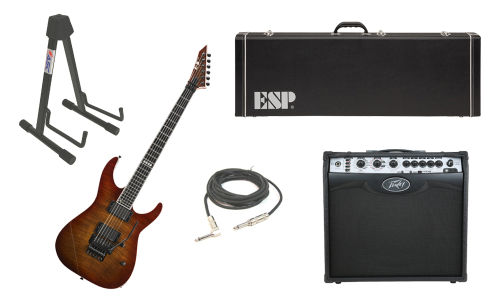 """ESP E-II M Series Flamed Maple Top 6 String Amber Cherry Sunburst Electric Guitar with Peavey VIP 2 Modeling Amp, 1/4"""" Cable & Stand"""