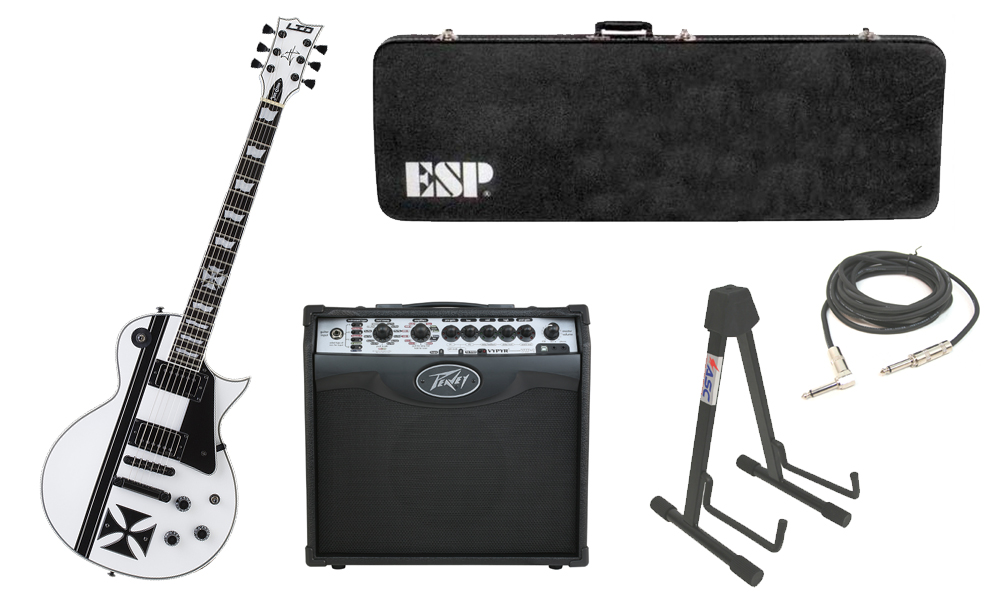 "ESP Signature James Hetfield LTD Iron Cross SW Mahogany Body 6 String Ebony Fingerboard Snow White & Graphic Electric Guitar with Peavey VIP 1 Modeling Amp, 1/4"" Cable & Stand"