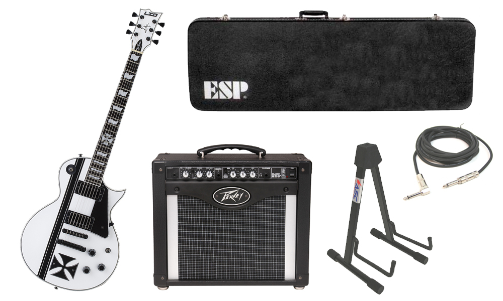 "ESP Signature James Hetfield LTD Iron Cross SW Mahogany Body 6 String Ebony Fingerboard Snow White & Graphic Electric Guitar with Peavey Rage 258 TransTube Amp, 1/4"" Cable & Stand"