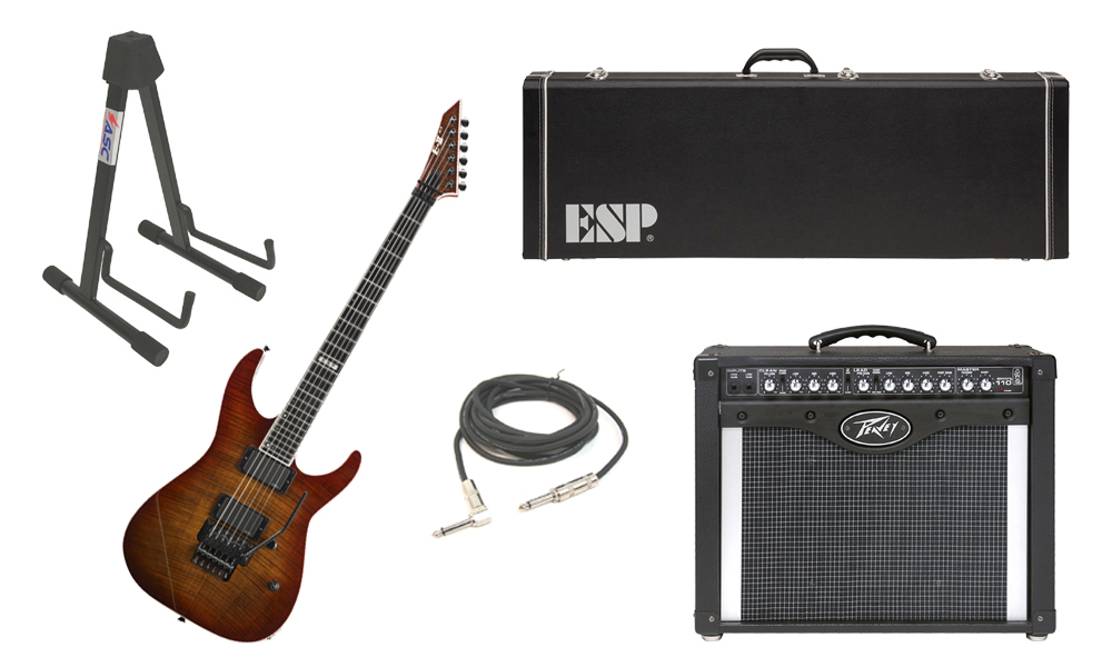 """ESP E-II M Series Flamed Maple Top 6 String Amber Cherry Sunburst Electric Guitar with Peavey Envoy 110 Tube Amp, 1/4"""" Cable & Stand"""