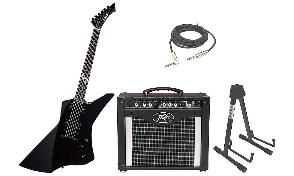 "ESP Signature James Hetfield LTD Snakebyte Mahogany Body 6 String Ebony Fingerboard Black Electric Guitar with Peavey Rage 258 TransTube Amp, 1/4"" Cable & Stand"