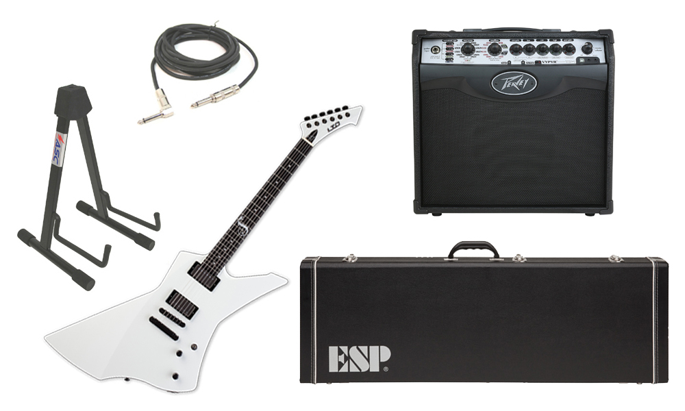 "ESP Signature James Hetfield LTD Snakebyte Mahogany Body 6 String Ebony Fingerboard Snow White Electric Guitar with Peavey VIP 1 Modeling Amp, 1/4"" Cable & Stand"