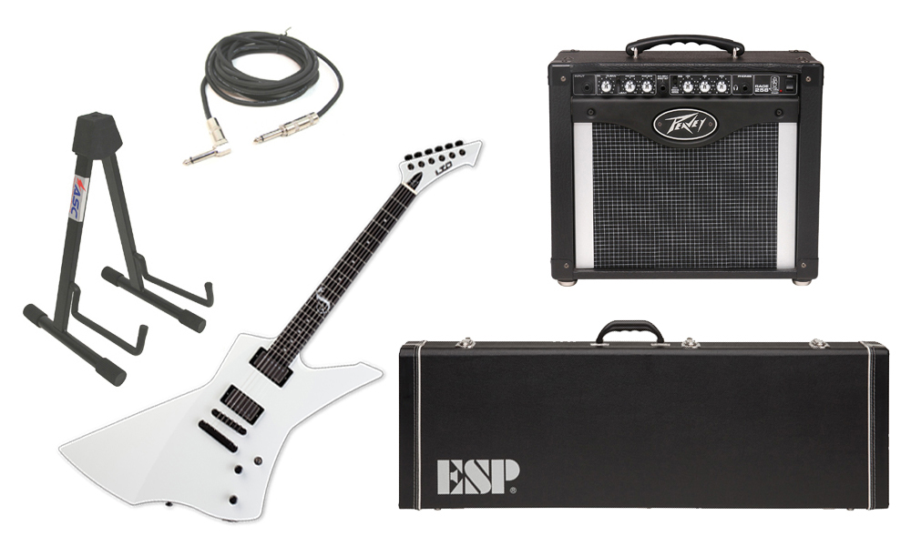 """ESP Signature James Hetfield LTD Snakebyte Mahogany Body 6 String Ebony Fingerboard Snow White Electric Guitar with Peavey Rage 258 TransTube Amp, 1/4"""" Cable & Stand"""