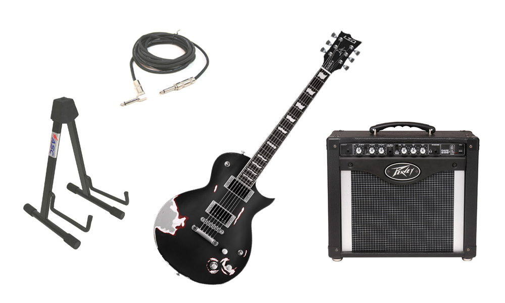 """ESP Signature James Hetfield LTD Truckster Mahogany Body 6 String Rosewood Fingerboard Aged Black Satin Electric Guitar with Peavey Rage 258 TransTube Amp, 1/4"""" Cable & Stand"""