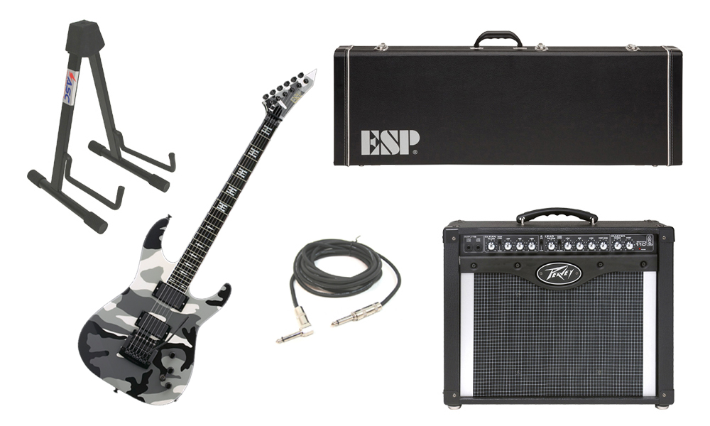 "ESP Signature Jeff Hanneman UC Alder Body 6 String Ebony Fingerboard Urban Camo Electric Guitar with Peavey Envoy 110 Tube Amp, 1/4"" Cable & Stand"