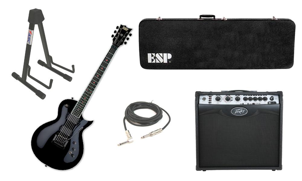 "ESP Signature Jeff Hanneman EC Alder Body 6 String Ebony Fingerboard Black Electric Guitar with Peavey VIP 2 Modeling Amp, 1/4"" Cable & Stand"