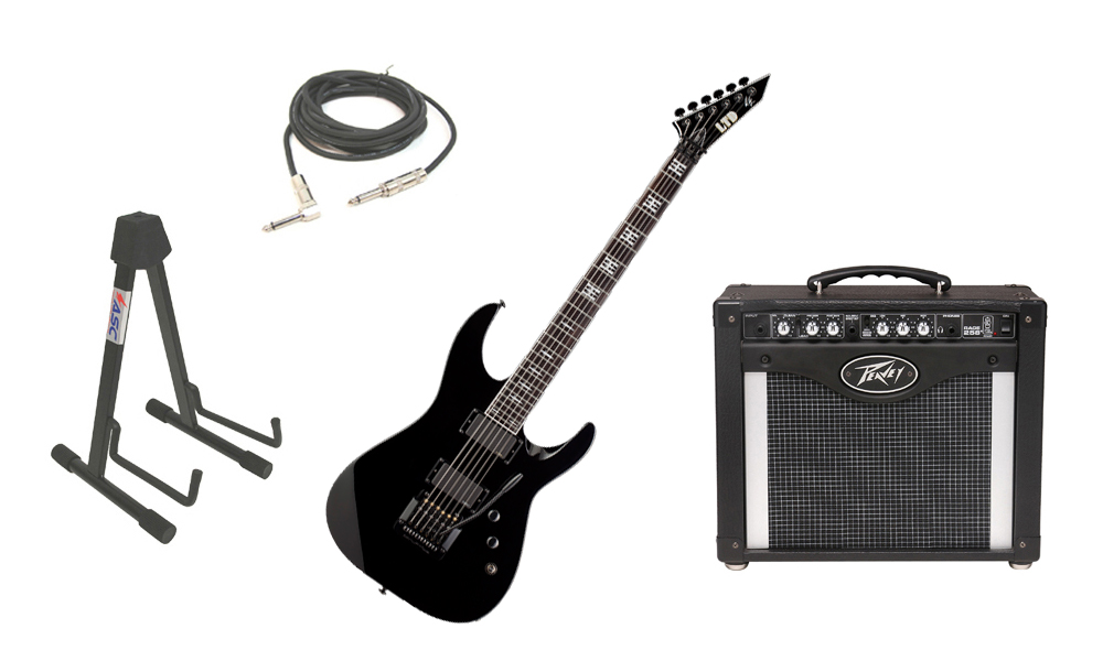 "ESP Signature Jeff Hanneman JH-600 Alder Body 6 String Ebony Fingerboard Black Electric Guitar with Peavey Rage 258 TransTube Amp, 1/4"" Cable & Stand"