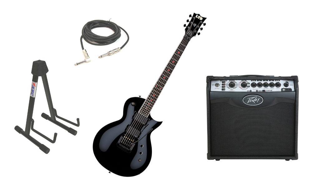 "ESP Signature Jeff Hanneman JH-600EC Alder Body 6 String Ebony Fingerboard Black Electric Guitar with Peavey VIP 1 Modeling Amp, 1/4"" Cable & Stand"