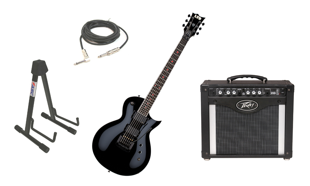 "ESP Signature Jeff Hanneman JH-600EC Alder Body 6 String Ebony Fingerboard Black Electric Guitar with Peavey Rage 258 TransTube Amp, 1/4"" Cable & Stand"