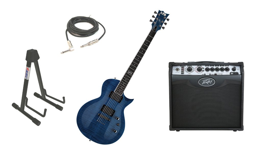"""ESP Signature Jeff Kendrick JK-1 Flamed Maple Top 6 String Rosewood Fingerboard Dark See Through Blue Electric Guitar with Peavey VIP 1 Modeling Amp, 1/4"""" Cable & Stand"""