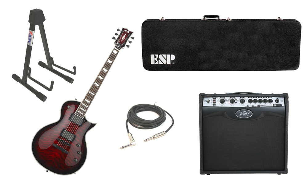 """ESP E-II Eclipse Quilted Maple Top 6 String See Through Black Cherry Sunburst Electric Guitar with Peavey VIP 2 Modeling Amp, 1/4"""" Cable & Stand"""