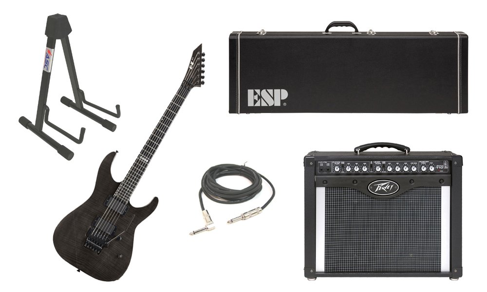 "ESP E-II M Series Flamed Maple Top 6 String See Through Black Electric Guitar with Peavey Envoy 110 Tube Amp, 1/4"" Cable & Stand"