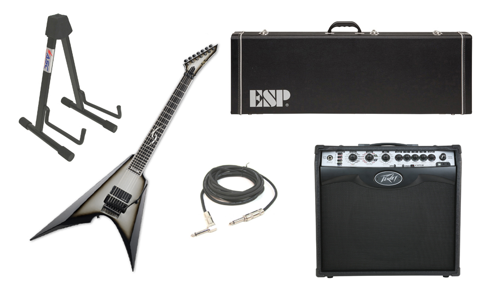 "ESP Signature Jesse Liu JL-7 Alder Body 7 String Ebony Fingerboard Silver Sunburst Electric Guitar with Peavey VIP 2 Modeling Amp, 1/4"" Cable & Stand"
