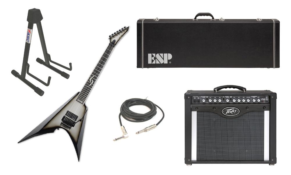 "ESP Signature Jesse Liu JL-7 Alder Body 7 String Ebony Fingerboard Silver Sunburst Electric Guitar with Peavey Envoy 110 Tube Amp, 1/4"" Cable & Stand"