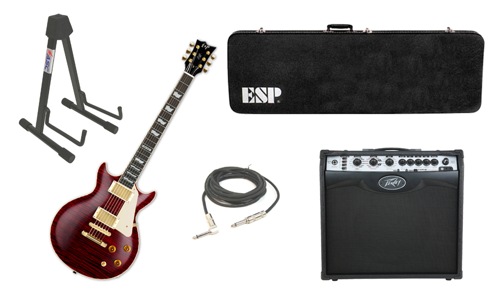 """ESP Signature Kirk Hammett KH-DC Mahogany Body 6 String Rosewood Fingerboard See Through Black Cherry Electric Guitar with Peavey VIP 2 Modeling Amp, 1/4"""" Cable & Stand"""