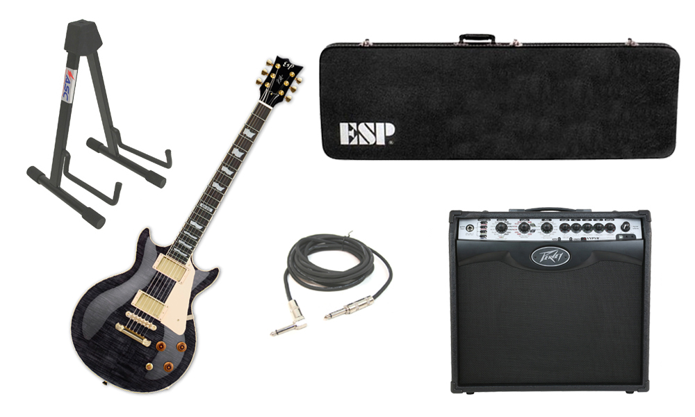 "ESP Signature Kirk Hammett KH-DC Mahogany Body 6 String Rosewood Fingerboard See Through Black Electric Guitar with Peavey VIP 2 Modeling Amp, 1/4"" Cable & Stand"