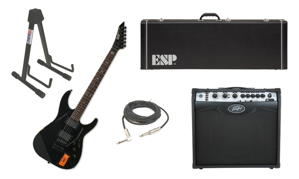"ESP Signature Kirk Hammett KH-2 Vintage Alder Body 6 String Rosewood Fingerboard Distressed Black Electric Guitar with Peavey VIP 2 Modeling Amp, 1/4"" Cable & Stand"