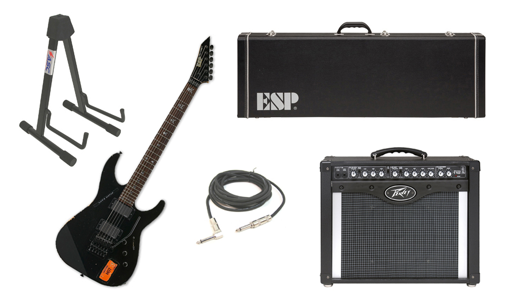 "ESP Signature Kirk Hammett KH-2 Vintage Alder Body 6 String Rosewood Fingerboard Distressed Black Electric Guitar with Peavey Envoy 110 Tube Amp, 1/4"" Cable & Stand"