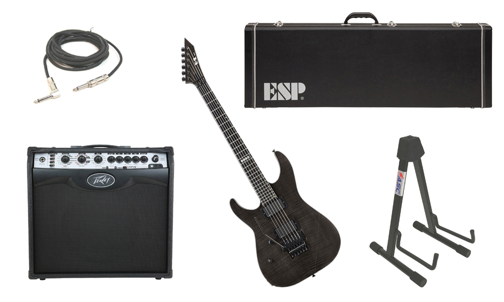 """ESP E-II M Series Flamed Maple Top 6 String See Through Black (Left Hand) Electric Guitar with Peavey VIP 2 Modeling Amp, 1/4"""" Cable & Stand"""