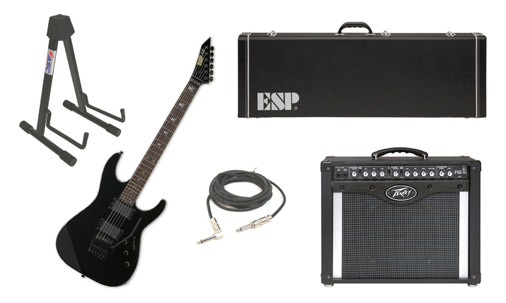 """ESP Signature Kirk Hammett KH-2 Alder Body 6 String Rosewood Fingerboard Black Electric Guitar with Peavey Envoy 110 Tube Amp, 1/4"""" Cable & Stand"""
