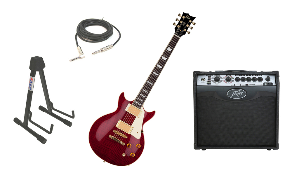 """ESP Signature Kirk Hammett LTD KH-DC Mahogany Body 6 String Rosewood Fingerboard See Through Black Cherry Electric Guitar with Peavey VIP 1 Modeling Amp, 1/4"""" Cable & Stand"""