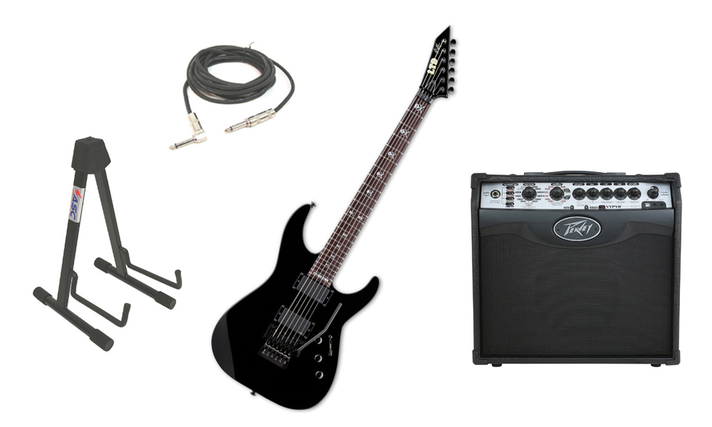 """ESP Signature Kirk Hammett KH-602 Alder Body 6 String Rosewood Fingerboard Black Electric Guitar with Peavey VIP 1 Modeling Amp, 1/4"""" Cable & Stand"""