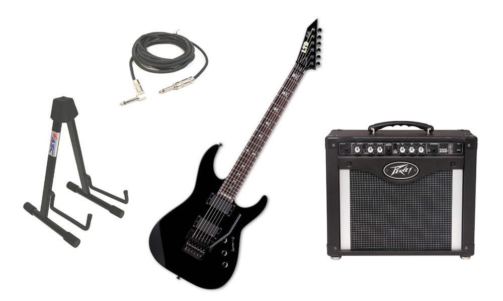 """ESP Signature Kirk Hammett KH-602 Alder Body 6 String Rosewood Fingerboard Black Electric Guitar with Peavey Rage 258 TransTube Amp, 1/4"""" Cable & Stand"""
