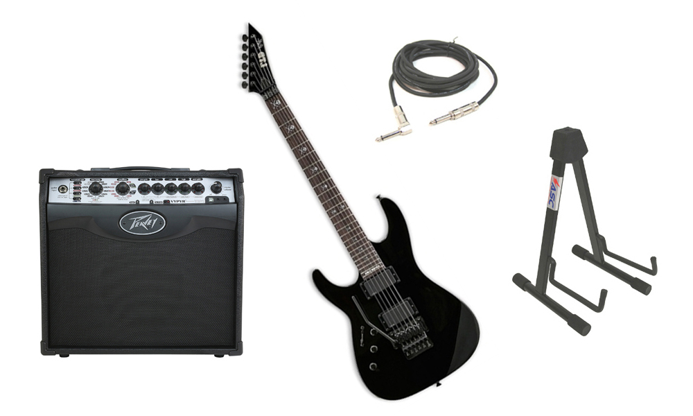 "ESP Signature Kirk Hammett KH-602 Alder Body 6 String Rosewood Fingerboard Black Electric Guitar (Left Hand) with Peavey VIP 1 Modeling Amp, 1/4"" Cable & Stand"