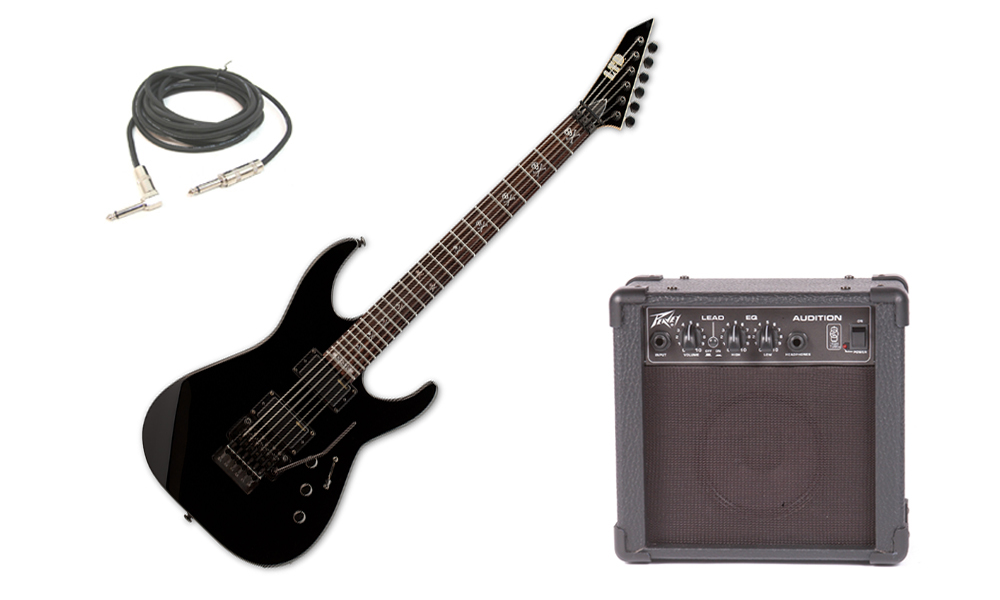 """ESP Signature Kirk Hammett KH-330 Basswood Body 6 String Rosewood Fingerboard Black Electric Guitar with Peavey Audition Practice Amp & 1/4"""" Cable"""