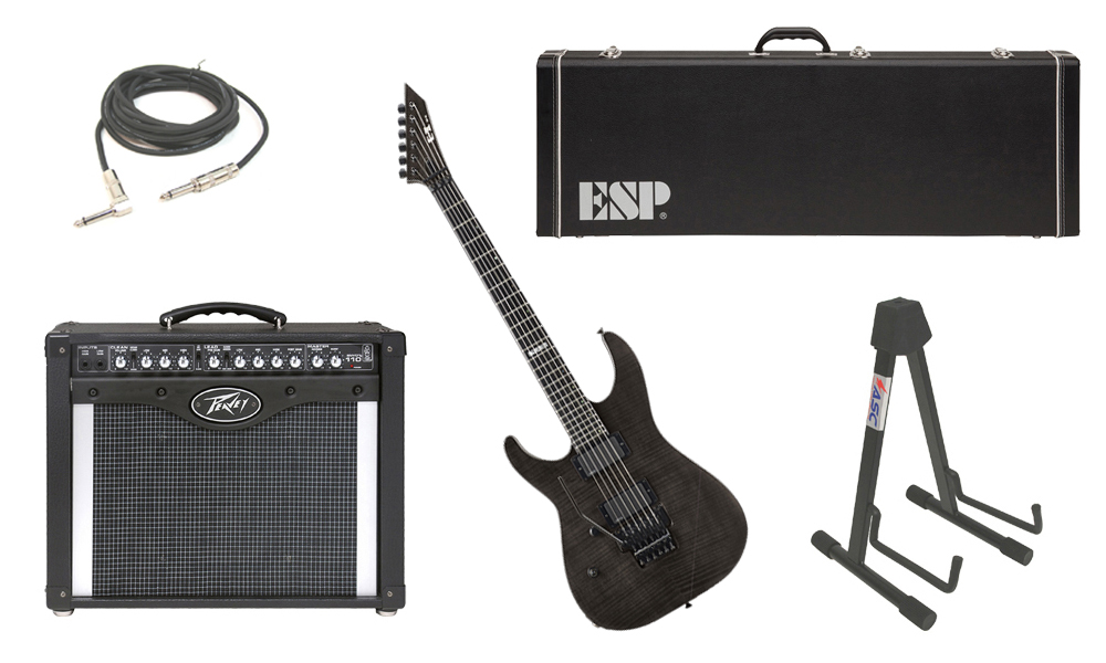 "ESP E-II M Series Flamed Maple Top 6 String See Through Black (Left Hand) Electric Guitar with Peavey Envoy 110 Tube Amp, 1/4"" Cable & Stand"