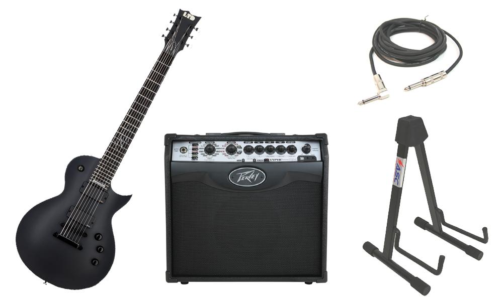 "ESP Signature Mark Heylmun MKH-7 Mahogany Body 7 String Ebony Fingerboard Black Satin Electric Guitar with Peavey VIP 1 Modeling Amp, 1/4"" Cable & Stand"