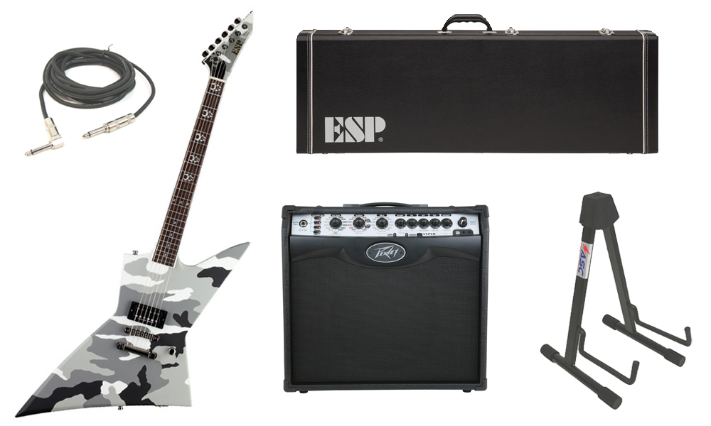 """ESP Signature Max Cavalera EX Mahogany Body 6 String Rosewood Fingerboard Urban Camo Electric Guitar with Peavey VIP 2 Modeling Amp, 1/4"""" Cable & Stand"""