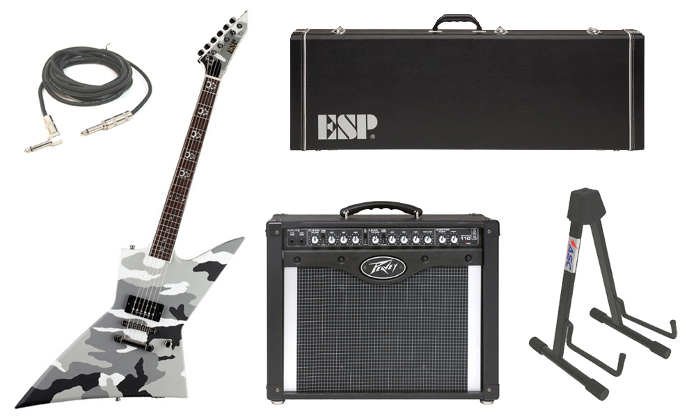 """ESP Signature Max Cavalera EX Mahogany Body 6 String Rosewood Fingerboard Urban Camo Electric Guitar with Peavey Envoy 110 Tube Amp, 1/4"""" Cable & Stand"""