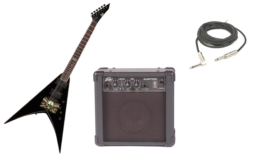 """ESP Signature Mark Paget MP-330 Basswood Body 6 String Ebony Fingerboard Black Graphic Electric Guitar with Peavey Audition Practice Amp & 1/4"""" Cable"""