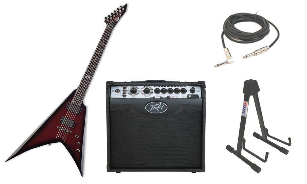 """ESP Signature Mike Spreitzer MS-1 Mahogany Body 6 String Ebony Fingerboard Maroon Sunburst Electric Guitar with Peavey VIP 1 Modeling Amp, 1/4"""" Cable & Stand"""
