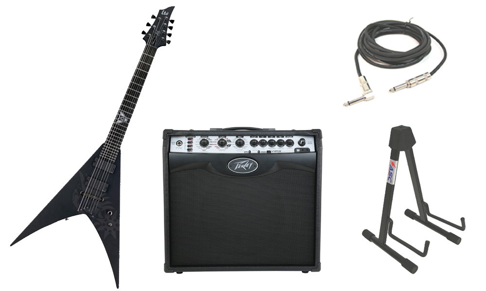 """ESP Signature Nergal HEX-7 Mahogany Body 7 String Ebony Fingerboard Black Satin Electric Guitar with Peavey VIP 2 Modeling Amp, 1/4"""" Cable & Stand"""