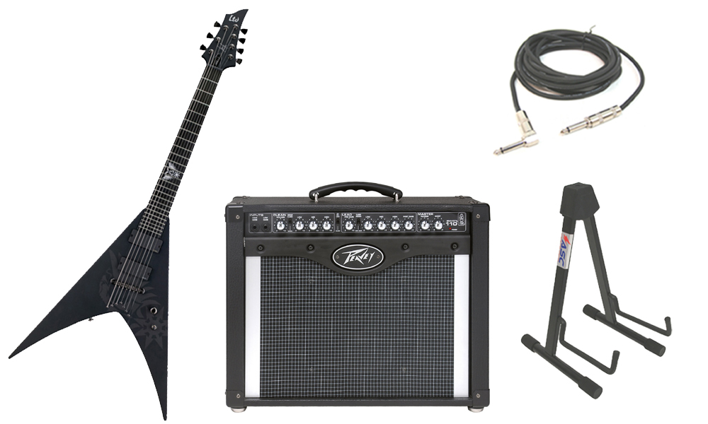 """ESP Signature Nergal HEX-7 Mahogany Body 7 String Ebony Fingerboard Black Satin Electric Guitar with Peavey Envoy 110 Tube Amp, 1/4"""" Cable & Stand"""
