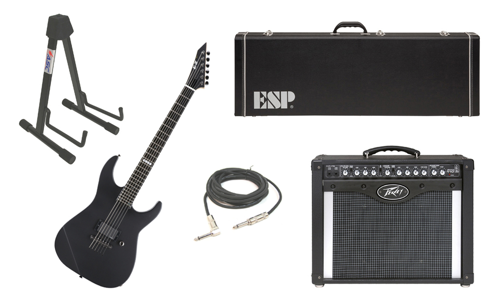"""ESP E-II M Series Maple Top 6 String Black Satin Electric Guitar with Peavey Envoy 110 Tube Amp, 1/4"""" Cable & Stand"""