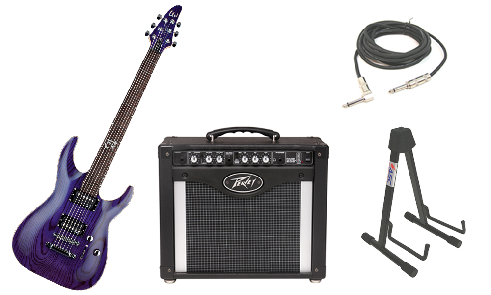 "ESP Signature Rob Caggiano RC-600 Ash Body 6 String Rosewood Fingerboard See Through Purple Electric Guitar with Peavey Rage 258 TransTube Amp, 1/4"" Cable & Stand"