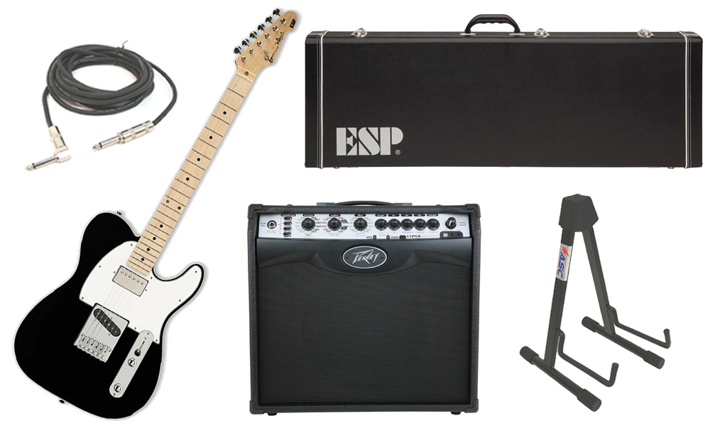 "ESP Signature Ron Wood Alder Body 6 String Maple Fingerboard Black Electric Guitar with Peavey VIP 2 Modeling Amp, 1/4"" Cable & Stand"