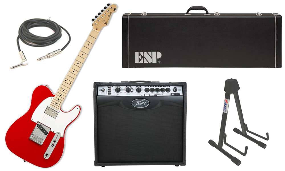 """ESP Signature Ron Wood Alder Body 6 String Maple Fingerboard Red Electric Guitar with Peavey VIP 2 Modeling Amp, 1/4"""" Cable & Stand"""
