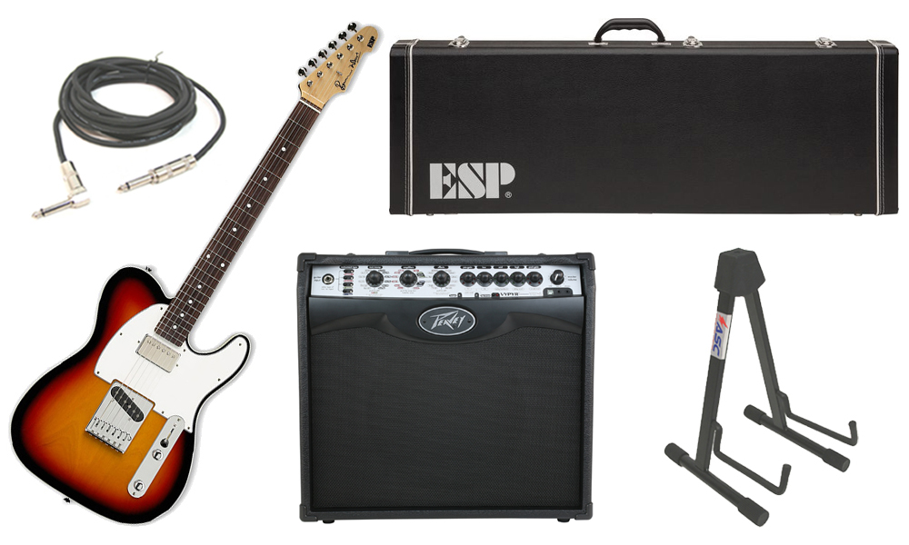 """ESP Signature Ron Wood Alder Body 6 String Maple Fingerboard 3 Tone Burst Electric Guitar with Peavey VIP 2 Modeling Amp, 1/4"""" Cable & Stand"""
