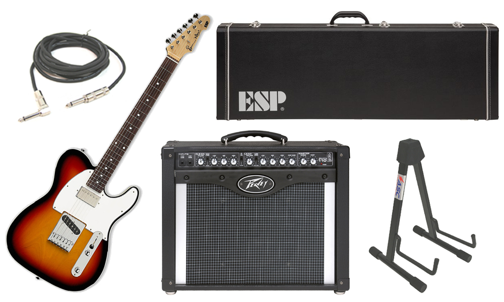 """ESP Signature Ron Wood Alder Body 6 String Maple Fingerboard 3 Tone Burst Electric Guitar with Peavey Envoy 110 Tube Amp, 1/4"""" Cable & Stand"""