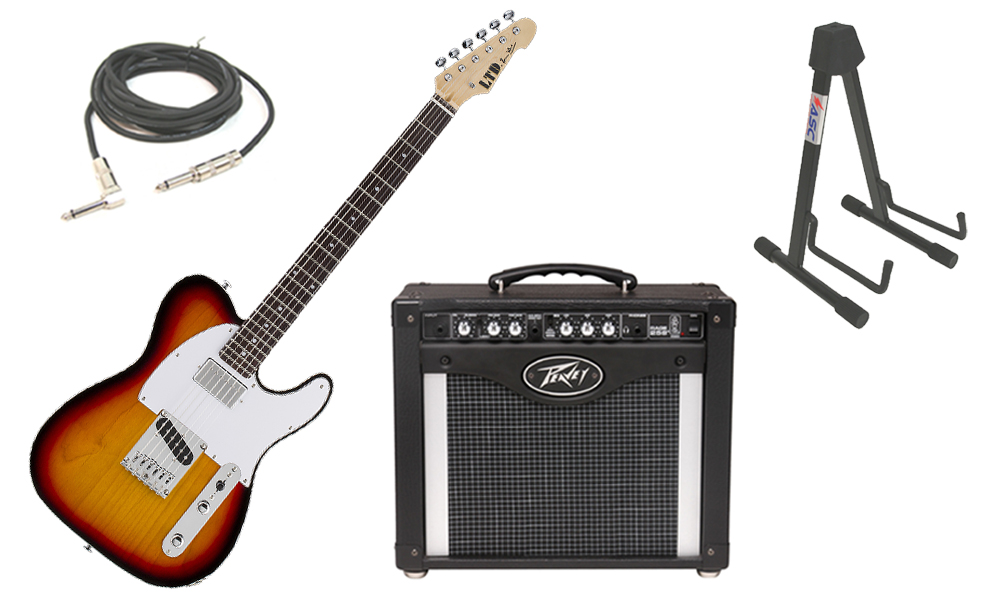 """ESP Signature LTD Ron Wood Alder Body 6 String Rosewood Fingerboard 3 Tone Burst Electric Guitar with Peavey Rage 258 TransTube Amp, 1/4"""" Cable & Stand"""