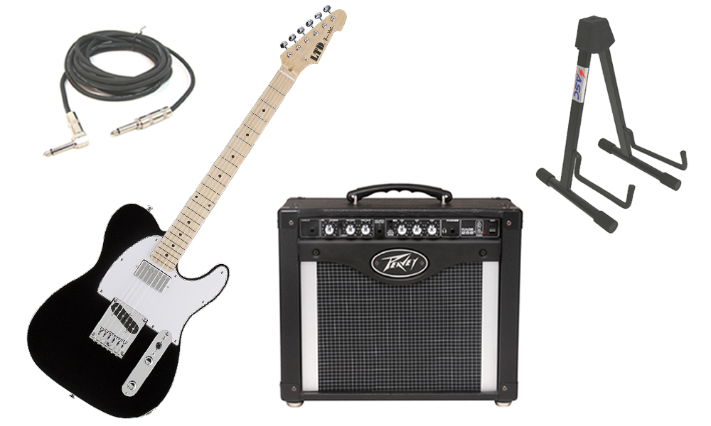 """ESP Signature LTD Ron Wood Alder Body 6 String Maple Fingerboard Black Electric Guitar with Peavey Rage 258 TransTube Amp, 1/4"""" Cable & Stand"""